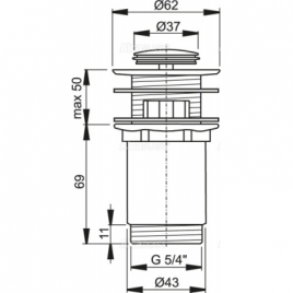 """A391 Водослив для умывальника click/clack 5/4"""", цельнометаллический с малой заглушкой"""