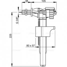 """A16 3/8"""" Впускной механизм с боковой подводкой и металлической резьбой для керамических бачков"""