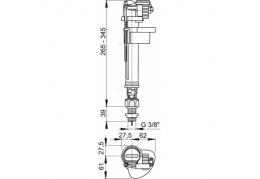 """A18 3/8"""" Впускной механизм с нижней подводкой и металлической резьбой"""