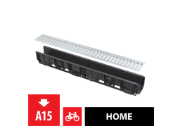 AVZ101-R101 Дренажный канал 100 мм без рамки с оцинкованной решеткой Т-образного профиля