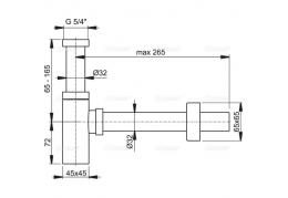 A401 Сифон для умывальника Ø32 DESIGN, цельнометаллический, квадратный