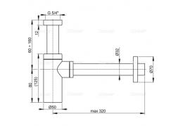 A400 Сифон для умывальника Ø32 DESIGN, цельнометаллический, круглый