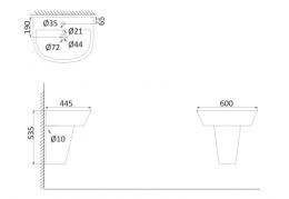 Подвесная раковина (с креплениями) + полупъедестал CR3000+CR3050