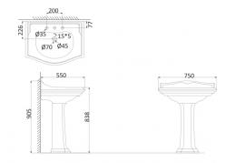Подвесная раковина (с креплениями)+Пьедестал DI3000+DI3010