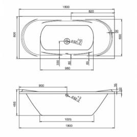 Ванна акрил прямоугольная Ecliptica 180