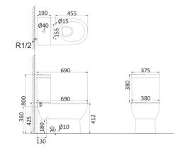 Унитаз напольный безободковый (с креплениями) BR1002R+BR1003
