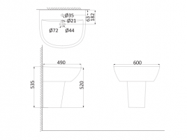 Подвесная раковина (с креплениями)+Полупьедестал  BR3000+BR3050