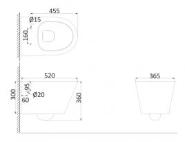 Унитаз подвесной, безободковый (с креплениями) CR1100R