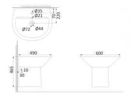 Подвесная раковина (с креплениями)+Полупьедестал NI3000+NI3050