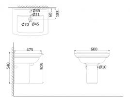 Подвесная раковина (с креплениями)+Полупъедестал OR3000+OR3050