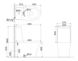 Унитаз напольный, безободковый (с креплениями) PA1002R+PA1003