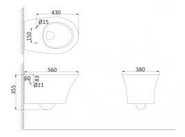Унитаз подвесной, безободковый (с креплениями) PA1100R