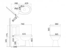 Унитаз напольный (c креплениями) PR1002+PR1003C