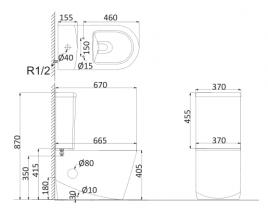 Унитаз напольный, безободковый (с креплениями) RE1002R+RE1003