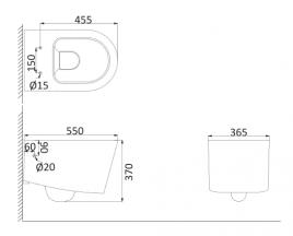 Унитаз подвесной, безободковый (с креплениями) RE1100R