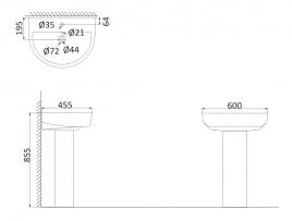 Подвесная раковина (с креплениями)+Пъедестал RE3000+RE3010