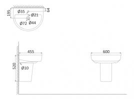 Подвесная раковина (с креплениями)+Полупъедестал RE3000+RE3050