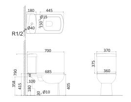 Унитаз напольный (с креплениями)+Бачок с системой двойного смыва TO1002N+TO1003N