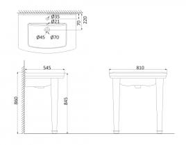 Подвесная раковина (с креплениями)+Ножки декоративные  OR3200+OR3210