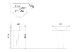 Подвесная раковина (с креплениями)+Пъедестал LM3000+LM3010