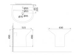 Монолитная раковина с полупьедесталом NI3100