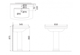 Подвесная раковина (с креплениями)+Пъедестал OR3100+OR3110