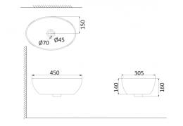 Накладная раковина-чаша, тонкостенная PU3200