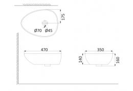 Накладная раковина-чаша, тонкостенная PU3300