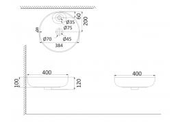 Накладная раковина-чаша, тонкостенная PU3600