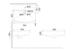 Накладная раковина-чаша, тонкостенная PU3800