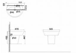 Подвесная раковина (с креплениями) + Полупъедестал PA3100+PA3050