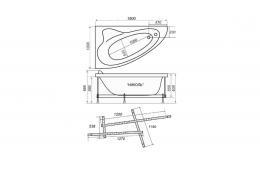 Акриловая ванна Тритон НИКОЛЬ [правая] 160